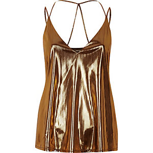 Metallic brown strappy cami