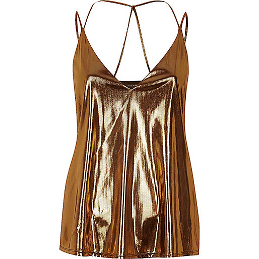 Metallic brown strappy cami top