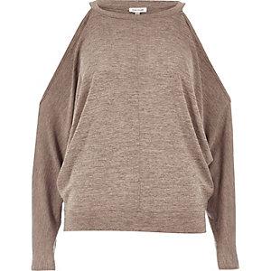 Light brown cold shoulder batwing top