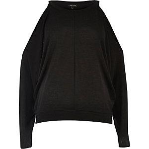 Black cold shoulder batwing sleeve top