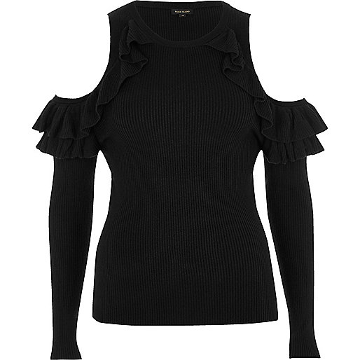 Black ribbed ruffle cold shoulder top