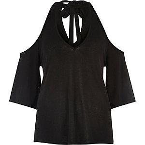 Black cold shoulder flute sleeve top