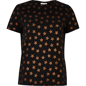 Black star foil print T-shirt
