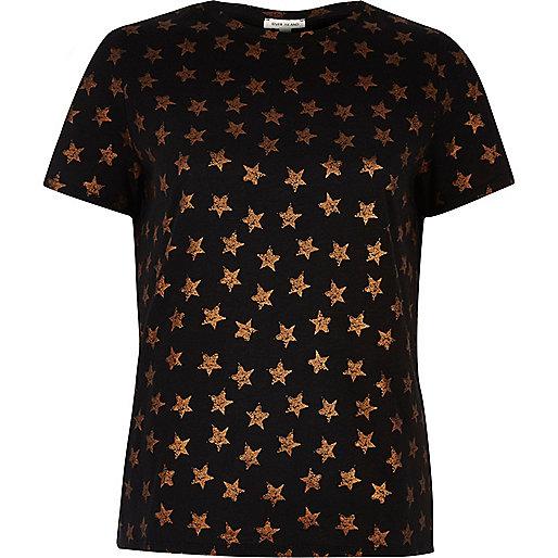Schwarzes T-Shirt mit Metallic-Sternmuster