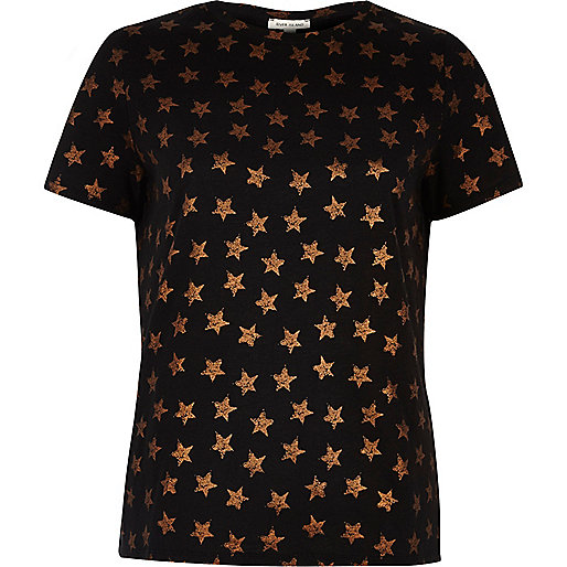 Black metallic star print T-shirt