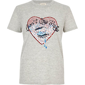 Grey sequin heart T-shirt