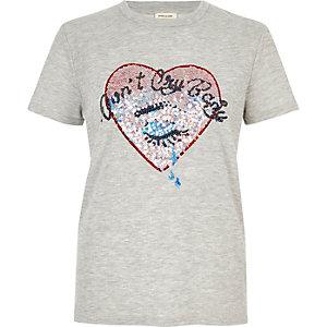 Grey sequin heart T-shirt