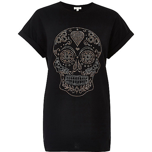 T-shirt boyfriend imprimé tête de mort clouté noir