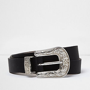 Plus black silver buckle western belt