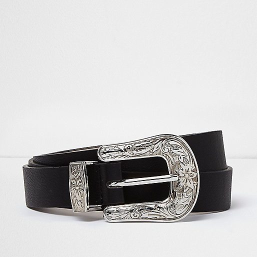 RI Plus black silver buckle Western belt
