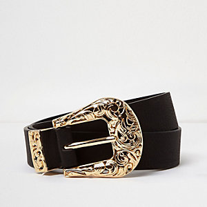 Plus black filigree western belt