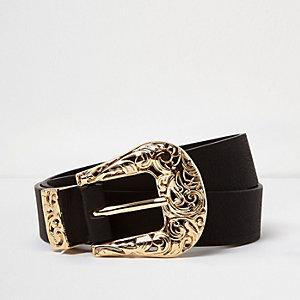 RI Plus black filigree Western belt