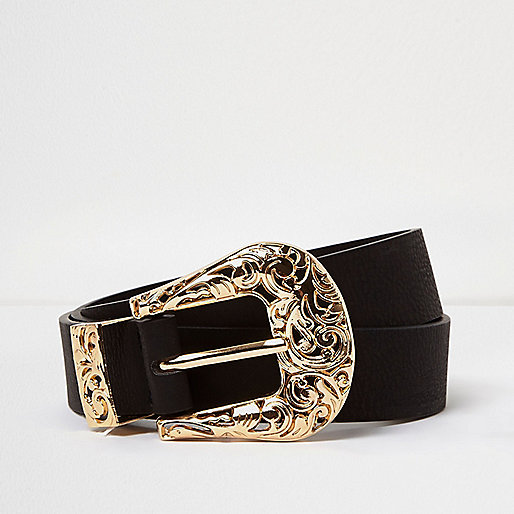 RI Plus black filigree Western belt