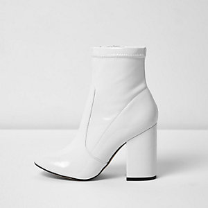 White stretch block heel sock boots