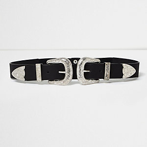 Black large double buckle Western belt