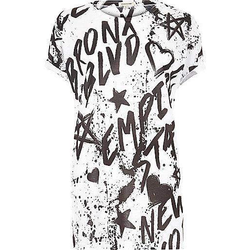 White graffiti print boyfriend T-shirt