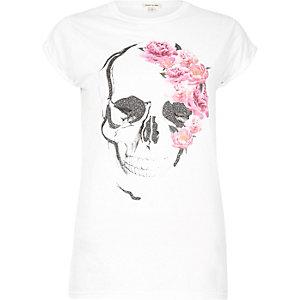White floral skull print boyfriend T-shirt