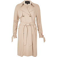 Blush pink duster trench coat