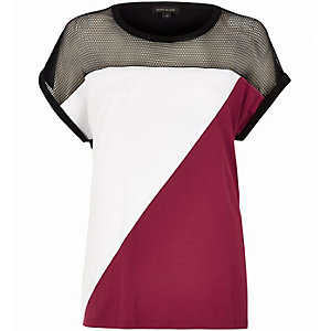 T-shirt colour block rouge avec empiècement en tulle