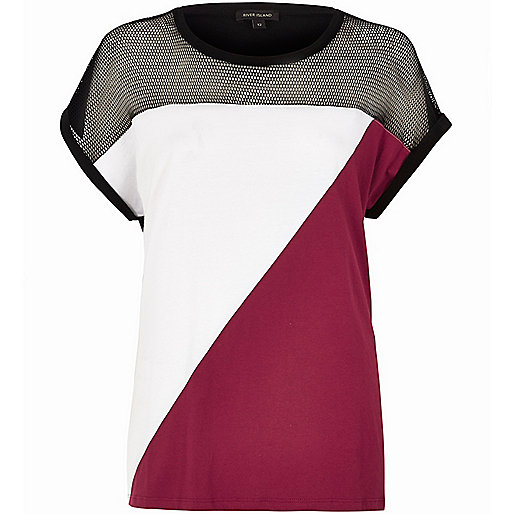 Red colour block mesh insert T-shirt
