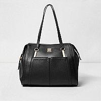 Black long strap shoulder tote bag