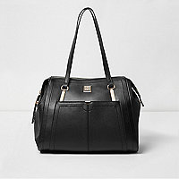 Schwarze Tote Bag mit langem Schulterriemen