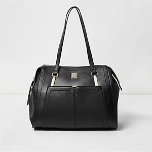 Black long strap shoulder tote handbag