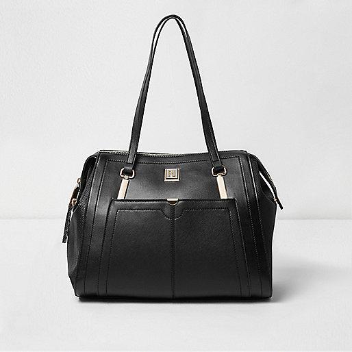 Black long strap shoulder tote handbag