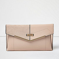 Blush pink envelope clutch bag with gold bar