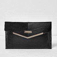 Black envelope clutch bag with gold bar