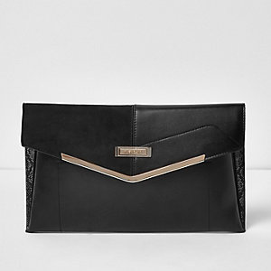 Black envelope clutch bag with gold bar