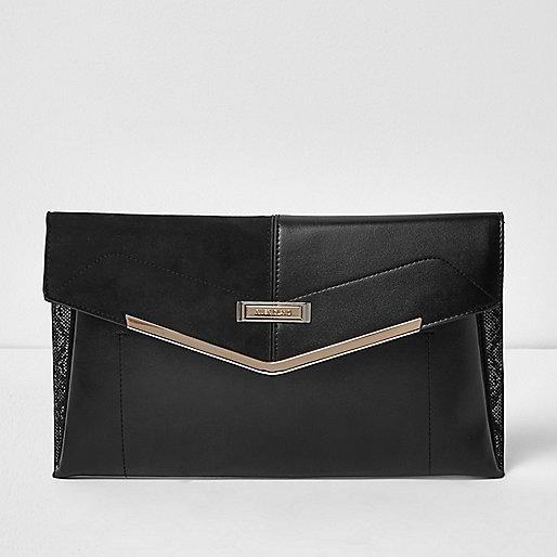 Pochette enveloppe noire avec barre dorée