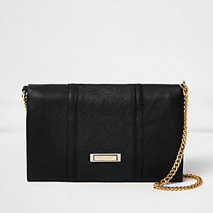 Black foldover chain strap clutch bag