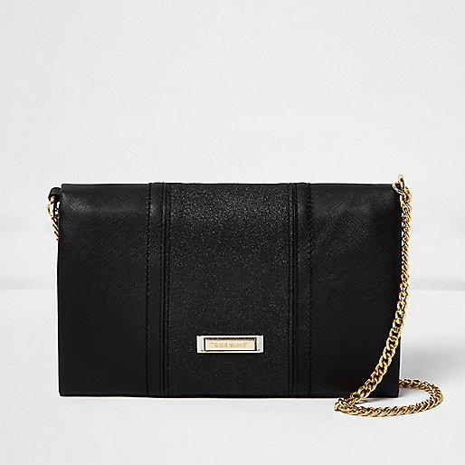 Black foldover chain strap clutch bag