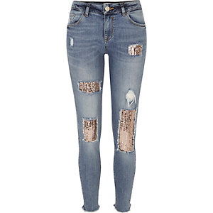 Mid wash sequin Alannah relaxed skinny jeans