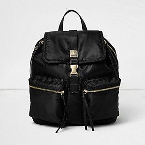 Black zip pocket backpack
