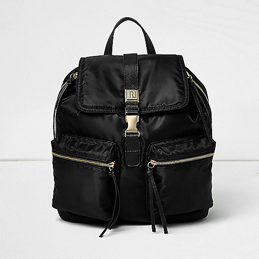 Black zip pocket backpack