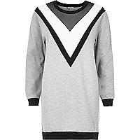 Graues, großes Sweatshirt mit Mesh-Einsatz