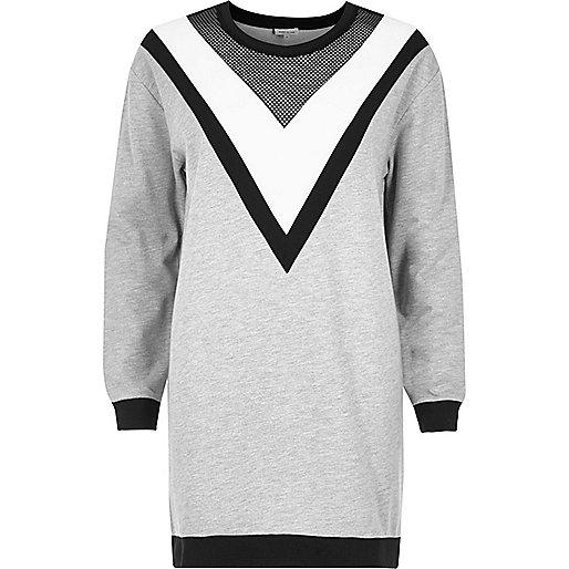 Grey mesh block oversized sweatshirt