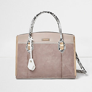 Stone and snake print structured tote bag
