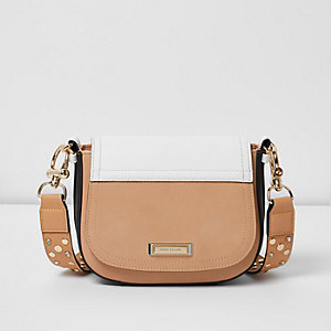 Nude panel stud strap saddle bag