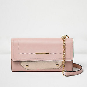 Pink foldover cross body handbag
