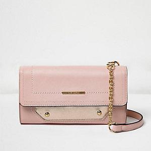 Pink foldover cross body handbag