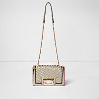 Rose gold quilted panel chain shoulder bag