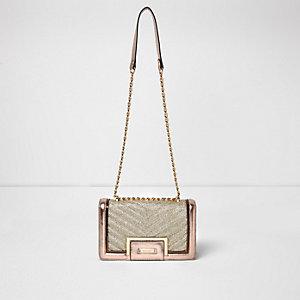 Rose gold quilted panel chain shoulder bag
