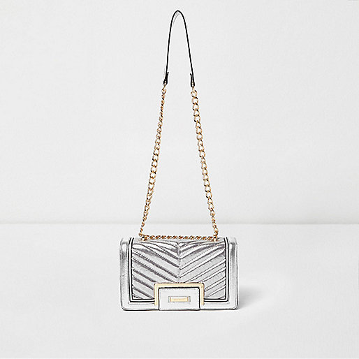 Silver quilted panel chain shoulder bag