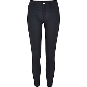 Molly – Marineblaue, beschichtete Jeggings
