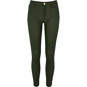 Molly – Beschichtete Jeggings in Khaki