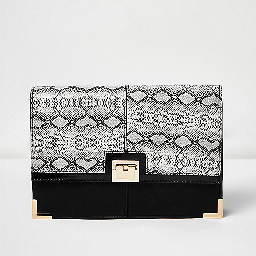 Black snake print foldover clutch bag
