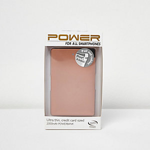 Rose gold smartphone power bank